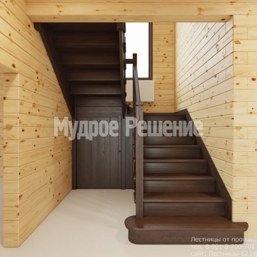 Лестница на втором этаже в деревянном доме вид 6