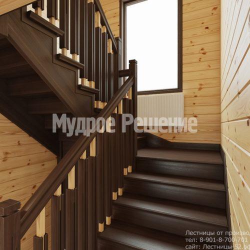 Лестница на втором этаже в деревянном доме вид 5