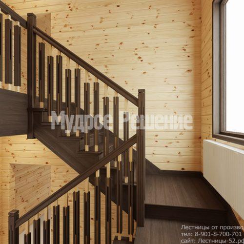 Лестница на втором этаже в деревянном доме вид 4