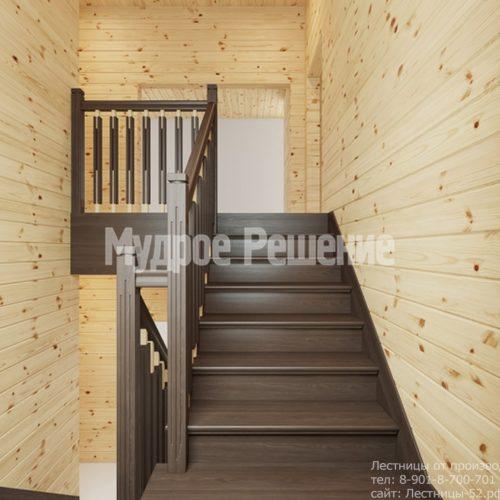 Лестница на втором этаже в деревянном доме вид 3