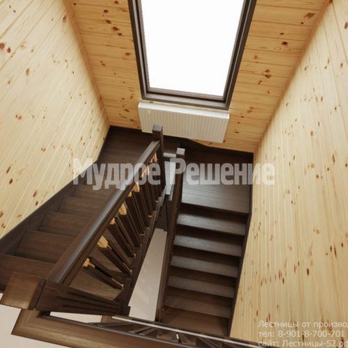 Лестница на втором этаже в деревянном доме вид 2