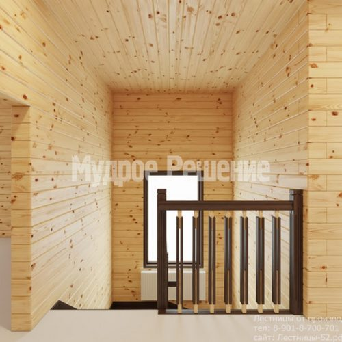 Лестница на втором этаже в деревянном доме вид 1