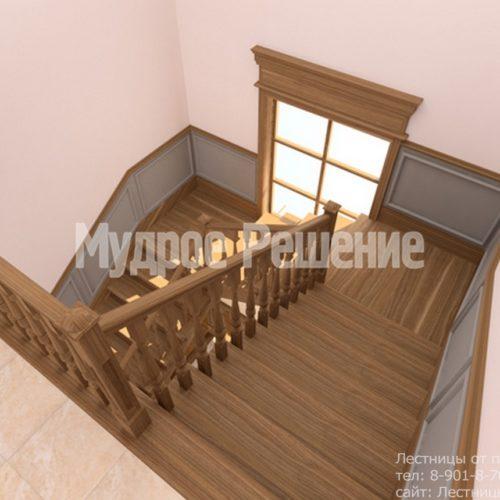 П-образная лестница на второй этаж на заказ вид 2