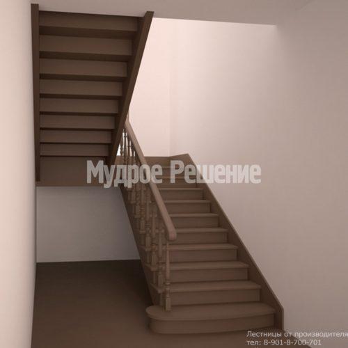 Лестница на заказ на второй этаж темная вид 2