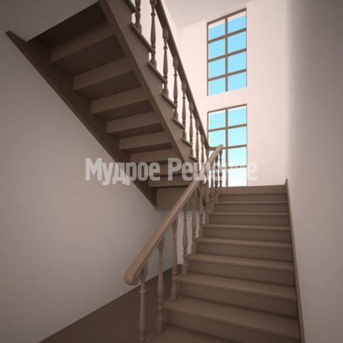 Лестница на заказ на второй этаж темная вид 1
