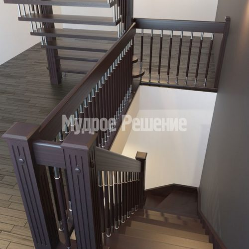 Лестница на больцах на второй этаж на заказ вид 2