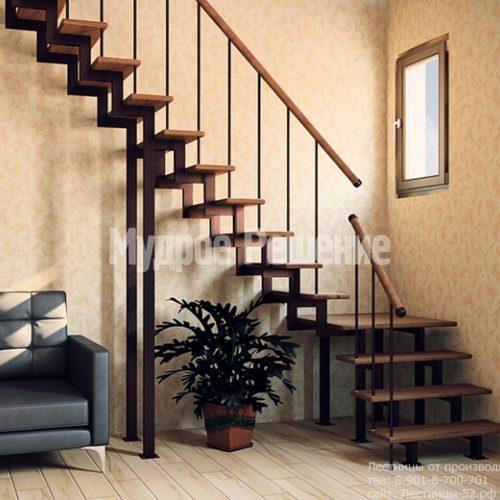 Металлическая лестница на заказ Г образная на второй этаж