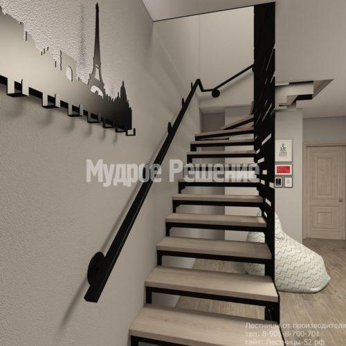 Металлическая лестница на второй этаж на заказ