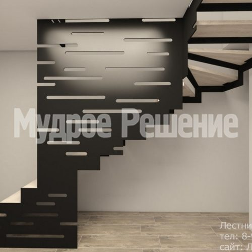 Металлическая лестница на второй этаж на заказ вид 2