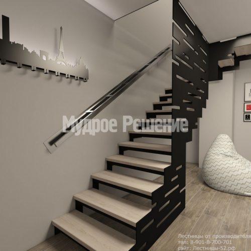Металлическая лестница на второй этаж на заказ вид 3
