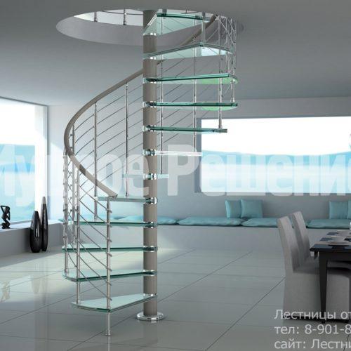 Винтовая лестница компактная на второй этаж вид 1