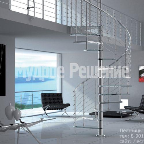 Винтовая лестница компактная на второй этаж на заказ вид 4