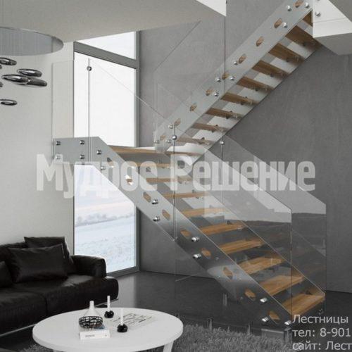 Металлическая лестница со стеклянным ограждением вид 1