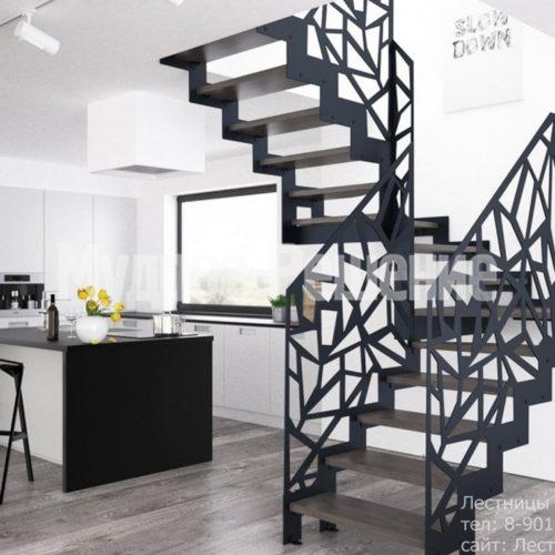 Контрастная металлическая лестница на заказ 2