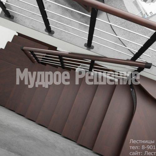 Г образная лестница на металлокаркасе 5
