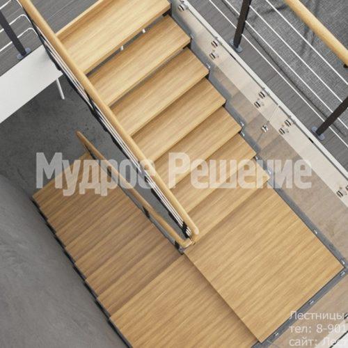Лестница на металлокаркасе П образная 4