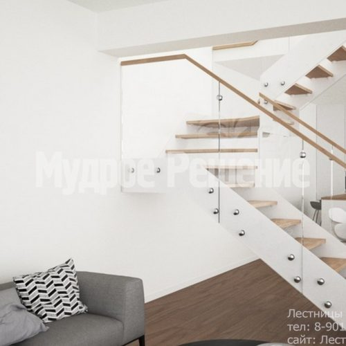 Лестница на металлокаркасе П образная 2
