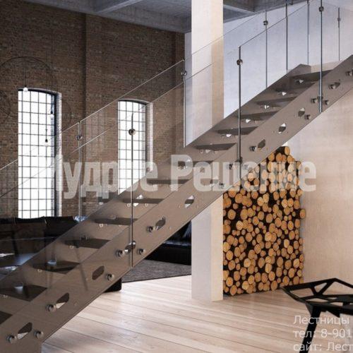 Стальная прямая лестница на заказ