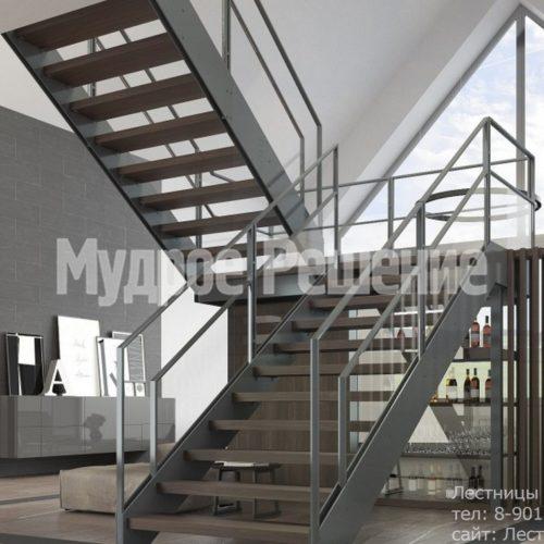 Лестница из металла с деревянными ступенями вид 4
