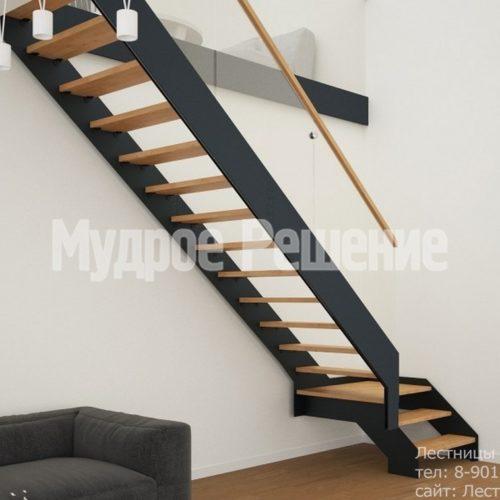 Лестница из металла с деревянными ступенями вид 3