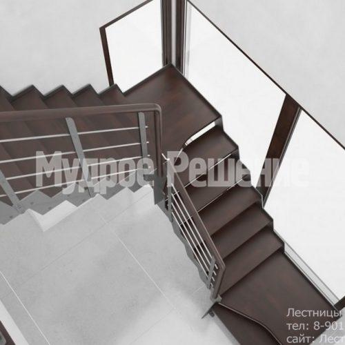 Металлическая лестница с металлическим ограждением вид 1