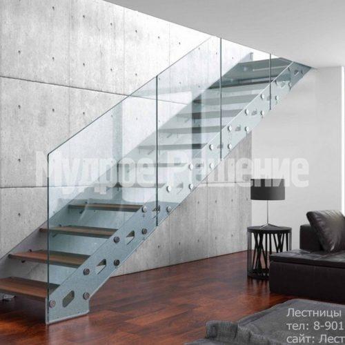 Стальная прямая лестница на заказ 2