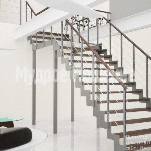 Открытая лестница на металлокаркасе 3