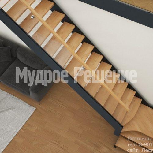 Лестница из металла с деревянными ступенями вид 2