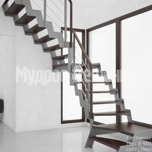 Металлическая лестница с металлическим ограждением вид 2