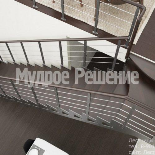 Прямая лестница из металла на заказ 2