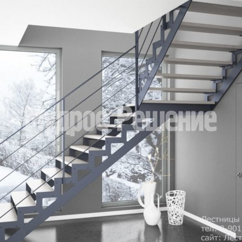Светлая лестница на металлокаркасе на заказ 2