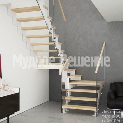 Светлая лестница на металлокаркасе 3