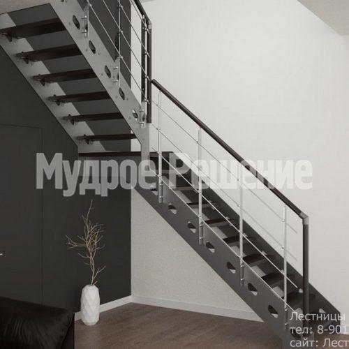 Стальная лестница на металлокаркасе 1
