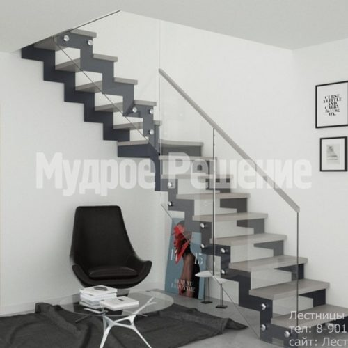 Г образная лестница на металлокаркасе 2