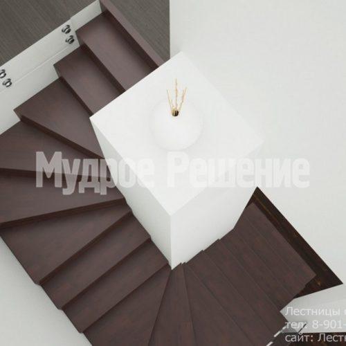 Бетонная лестница с ограждением из стекла 2