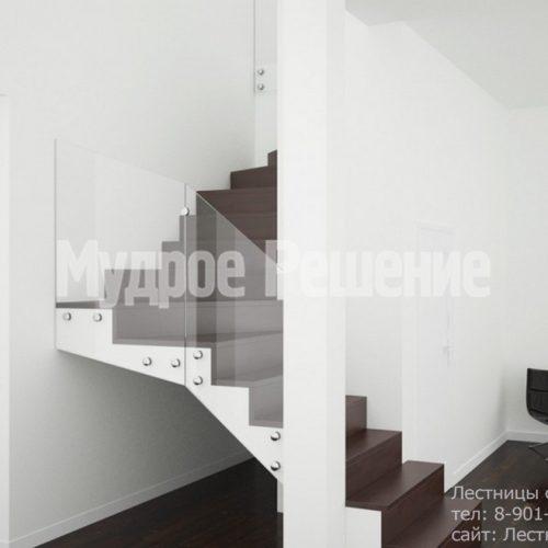 Бетонная лестница с ограждением из стекла