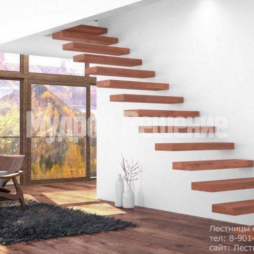 Лестница консольная из красного дерева 2