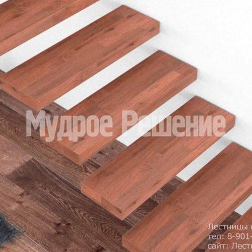 Лестница консольная из красного дерева