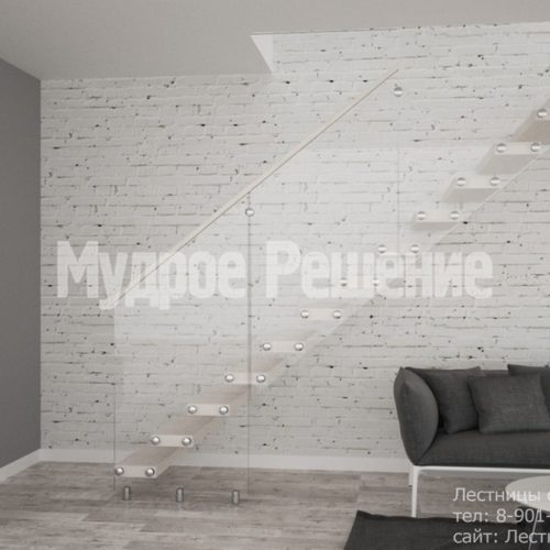 Светлая деревянная консольная лестница 3