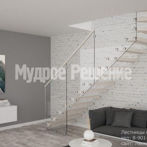 Светлая деревянная консольная лестница